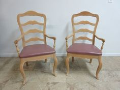 Pair Ethan Allen Country French Ladder Back Dining Room Arm Chairs Bisque