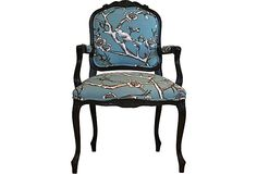 One Kings Lane $835 Bella Occasional Chair  Vintage Baldwin Louis XIV-style occasional chair restained in a dark espresso finish and reupholstered in gorgeous blue bird-pattern cotton.
