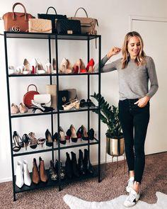 IKEA VITTSJO Black-Brown, Glass Shelf unit How to store shoes/bags and don't forget the house pl Bag Closet, Closet Bedroom, Shoe Rack Bedroom, Closet Store, Closet Shoe Storage, Shoe Organizer, Purse Organization, Organizing, Handbag Display