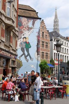 The Brussels' Comic Book Route (or also The comic strip route in Brussels) is a path composed by several comic strip murals which deck the walls of several buildings throughout the inner City of Brussels as well as the neighborhoods of Laeken and Auderghem. http://brusselscomics.com/en/route_parcours.cfm. #Brussels #Bruxelles #Brussel.