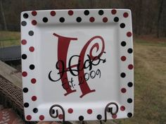 Pottery Plate Paint Ideas | ... plate, wedding plate, anniversary plate, initial plate, monogram plate