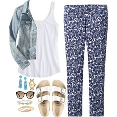 Printed pants & burks by classycathleen on Polyvore featuring polyvore fashion style American Eagle Outfitters Old Navy Uniqlo Birkenstock Tory Burch YooLa Prada