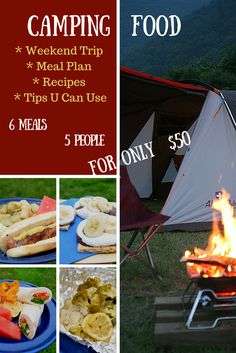 Camping Food Meal Plan and Camping Recipes. This is everything you need for a weekend trip for 5 people spending ONLY $50 with ALDIUSA