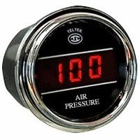 Air Pressure Gauge for Trucks and Cars Product Description The Digital Air Pressure Gauge accurately displays air pressure for any number of devices on a  car, truck or semi.  Teltek USA gauges are best in class and backed by over 20 years of design and manufacturing.  Details Made in the USA and secured with a Lifetime Warranty Select either range:  0-100 PSI or 0-150 PSI 10' plug sensor cable for taking temperature reading.  #AirPressureGauge, #TruckGauges, #CarGauges,#GaugesForTrucks
