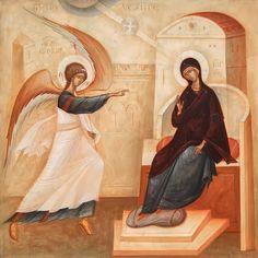 Annunciation by Gabriel Toma Chituc Byzantine Icons, Byzantine Art, Religious Icons, Religious Art, Lucas 1 26 38, Church Icon, Paint Icon, Angel Images, Archangel Gabriel