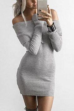 Grey Off Shoulder Knitwear Long Sleeve Dress