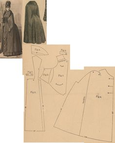 Der Bazar 1887: Wintertime cape from brown striped woollen with beaver fur lining; 1. bodice's front part, 2. side gore, 3. collar, 4. pelerine-sleeve part, 5. back part in half size, 6. lapel in half size, 7. button band part