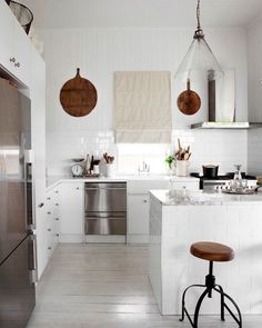 "30 Likes, 2 Comments - Britton Beck (@southoak1) on Instagram: ""I love this simple, clean all white kitchen. The vintage bread boards are the perfect touch to add…"""