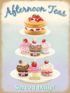 Have some tea and sweet desserts with this wonderful Afternoon Tea Metal Sign. Made of sturdy steel, this sign features a platter of cake and cupcakes that's sure to get you in the mood for tea. Cupcake Torte, Tea Tins, Tea Cakes, Kitchen Art, Kitchen Decor, Bakery Kitchen, Food Illustrations, Cake Illustration, Tea Time