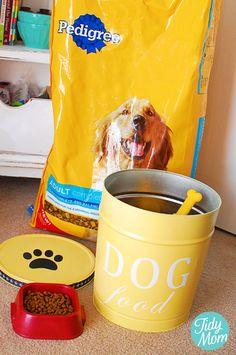 painted Christmas popcorn tins for dog food