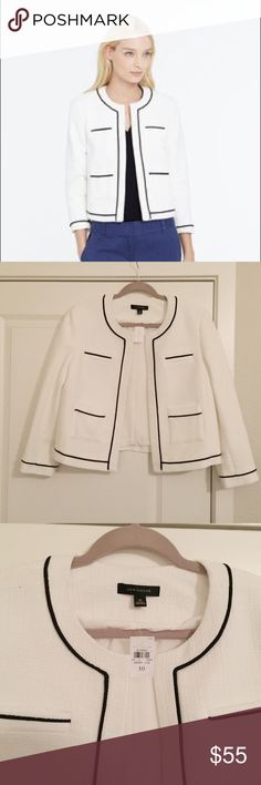 "Ann Taylor White Jacket with Black Trim NWT The chicest little jacket ever. Classic, timeless, and so flattering. It pains me to part with this but my work from home lifestyle has a much more casual dress code. NWT, perfect condition. Bust 34"", length 21.5"", sleeve 21"". Open front style (no buttons/closures) Ann Taylor Jackets & Coats Blazers"