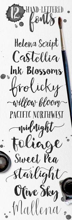 HANDWRITING FONTS for Hand lettering lovers. > Skyla Design - 12 hand-lettered fonts for your creative designs Calligraphy Letters, Typography Letters, Modern Calligraphy, Caligraphy, Alphabet Letters, Creative Lettering, Brush Lettering, Watercolor Lettering, Brush Script