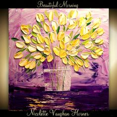 "Original Still Life  gallery canvas Abstract 24""  palette knife signature Tulip impasto oil painting by Nicolette Vaughan Horner"