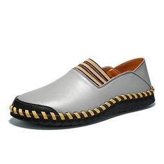 Men Hand Stitching Elastic Panels British Style Flat Soft Casual Loafers - NewChic Mobile.