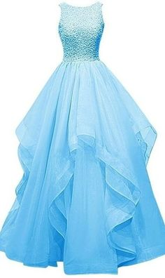 Light Sky Blue Long Prom Dresses, #ballgown Prom Dresses, #eveningdresses,A-line…