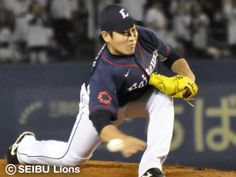 Kazuhisa Makita #35 hurls 7 scoreless frames with fanning 3 Marines and inducing 11 groundouts en route to his 6th win of the season at QVC Marine Field on September 6, 2013 in Chiba, Chiba.