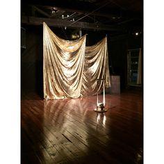 Quick & Easy DIY large backdrop --> plastic dropcloth + rustoleum metallic spray paint (around Party Kulissen, Gold Party, Party Ideas, 20s Party, Party Time, Diy Photo Backdrop, Backdrop Ideas, Photo Backdrops, Backdrop Photobooth
