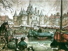 Fishing - Anton Pieck Anton Franciscus Pieck April 1895 – 24 November was a Dutch painter, artist and graphic artist. His works are noted for their nostalgic or fairy tale-like . Anton Pieck, Dutch Painters, Dutch Artists, Fantasy Illustration, Picasso, Art Tutorials, Painting & Drawing, Illustrators, Fairy Tales