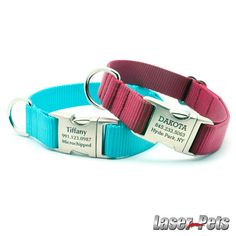 HEAVY DUTY Webbing Dog Collar with Laser Engraved Personalized Buckle. $27.99, via Etsy.