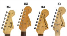 The headstock shape and Fender logos changed throughout the CBS-era. The tuning machines changed from Kluson Deluxe to F-style in 1968.