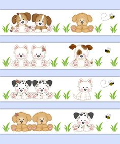 Puppy Dog Wallpaper Border for baby boy or girl nursery