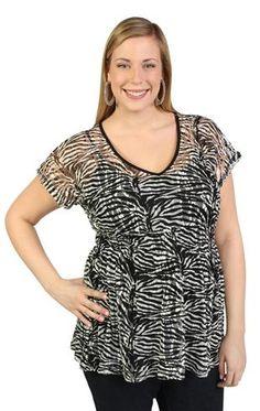 plus zebra lace top