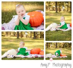 Children Photographer | Pumpkin props and out door session | One year session