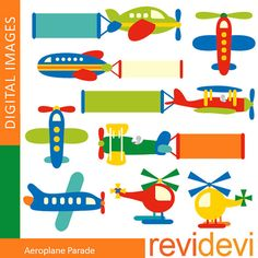 Aeroplane Parade 07352 - Commercial use clip art for printed cards, scrapbooking, paper goods - Cute images