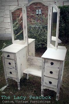 Gorgeous Antique White Vanity / Dressing Table