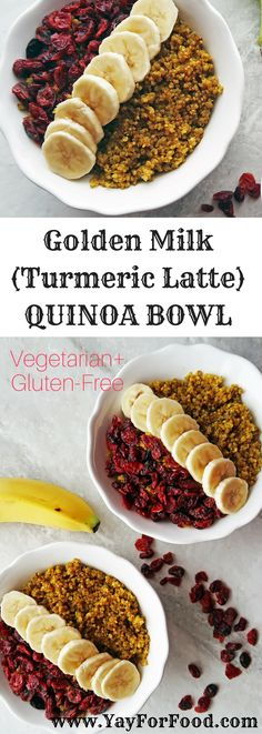 A breakfast Golden Milk Quinoa Bowl is loaded with the health benefits of turmeric and quinoa! Vegetarian, gluten-free, dairy-free, and ready in under 30 minutes!