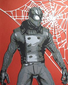 Papercut portrait of Spiderman Noir by Papergizmo - Visit to grab an amazing super hero shirt now on sale! Marvel Vs, Marvel Heroes, Marvel Comics, Spider Art, Spider Verse, Spiderman Noir, Comic Books Art, Comic Art, Best Marvel Characters
