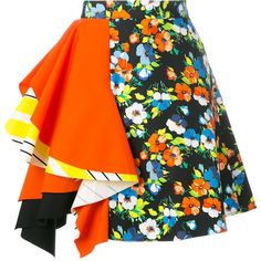 MSGM Multicolor Floral Print Skirt (€280) ❤ liked on Polyvore featuring skirts, bottoms, multi, floral ruffle skirt, flouncy skirt, msgm skirt, frill skirt and multi color skirt