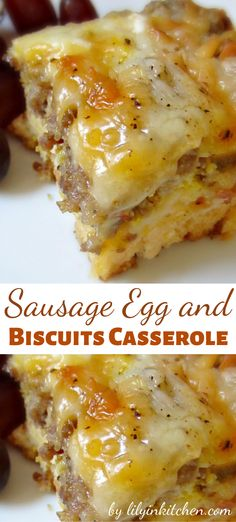 Good for breakfast and beyond, this Sausage Egg and Biscuits Casserole is a winner. Eggs, breakfast sausage, cheese and buttermilk biscuits. It's everything good about breakfast, all together in one dish! Print Sausage Egg and Biscuits Casserole. Egg And Cheese Casserole, Breakfast Casserole With Biscuits, Sausage Breakfast, Breakfast Dishes, Easy Breakfast Casserole Recipes, Recipes Using Breakfast Sausage, Sausage Egg Casserole, Biscuits And Gravy Casserole, Make Ahead Breakfast Casserole