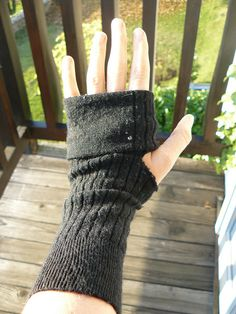 Fingerless gloves from socks ( I made some similar to these last year, worked great )