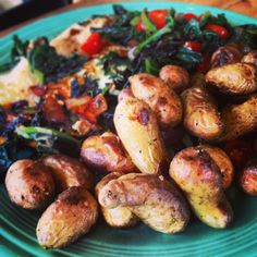 Kale Skillet with Egg, Onion, and Tomato, serve w roasted potatoes