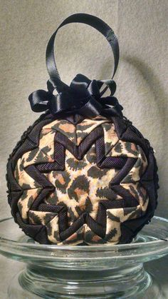 Christmas quilted ornamental ball by OrnamentBallGirl on Etsy