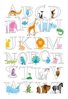 AnimAlphabet Poster - Kids Room Art by Kerry Beary ABCs and Animals Alphabet