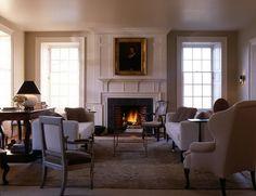 windows and fireplace: neumann lewis buchanan architects Slate Fireplace, Family Room Fireplace, Bedroom Fireplace, Fireplace Design, Traditional Porch, Georgian Interiors, Classic Interior, Room Inspiration, House Design