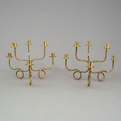 JOSEF FRANK, A pair of Josef Frank, candelabra, of brass, Svenst Tenn.