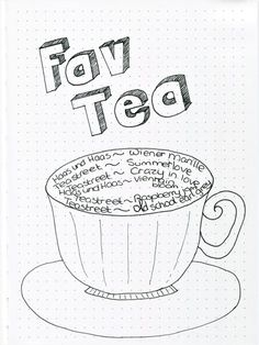 a bullet journal spread idea for your favorite tea or coffee Bullet Journal Mood Tracker Ideas, Bullet Journal Spread, Bullet Journals, Washi Tape, Journaling, Tea, How To Plan, Coffee, High Tea