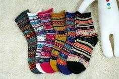 New Unisex Unique Geometric Striped Pattern Rolling Up Cotton Socks_6 colors…