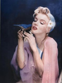 marilyn monroe, actress, old hollywood 50s 1950s, vintage retro bird daisies flowers blue