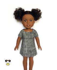 """Cute and fun in this trendy dolman doll dress, perfect for Wellie Wishers! The dress features a black and white crosshatch print with a Velcro closure. Item was handcrafted in our pet free, smoke free sewing studio. • Listing includes – Dress only to fit 14 inch and 14.5"""" dolls. (Toy Doll and shoes are not included) • Style Tips –Perfect dress for a fun gathering. • Care – Machine wash cold in gentle cycle with like colors. Tumble dry low. • Packaging – All handmade clothing pieces are…"""