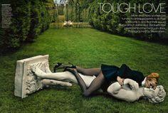 US Vogue July 2013  Tough Love  Photographer: Steven Klein Stylist: Phyllis Posnick Model: Elza Luijendijk Make-Up: Stephane Marais Hair: Julien d'Ys