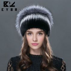 42.90$  Watch here - http://alinzr.worldwells.pw/go.php?t=32759956796 - Sale 2016 winter beanies fur hat for women knitted rex rabbit fur hat with fox fur flower top free size casual women's hat
