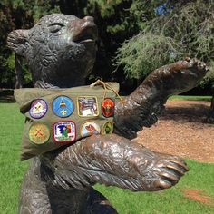 """Beware of Bears! Den & Delve: Camp & Scout Collection - """"Badgewinner's"""" large zippered carryall pouch handmade from vintage military tent fabric and embellished with 1960's-70's camp patches."""