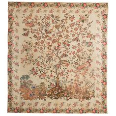 Chintz appliqué tree of life quilt top, made by Maria Boyd Schulz of Charleston…
