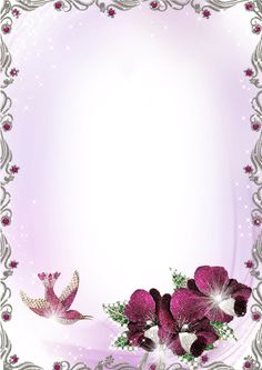 Large Silver and Purple Transparent Frame with Flowers.