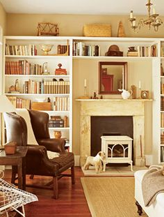 bookcases on fireplace wall