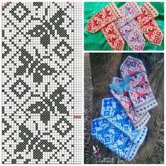 Knitted Mittens Pattern, Lace Knitting Patterns, Knitting Charts, Knit Mittens, Weaving Patterns, Easy Knitting, Mitten Gloves, Knitting Stitches, Knitting Designs